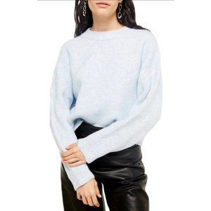 TOPSHOP Cable Knit Sleeve Sweater Blue Size 14